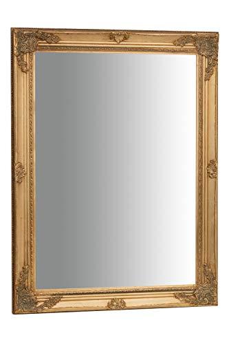Biscottini Specchio, Specchiera rettangolare da parete, da appendere al muro orizzontale verticale, Shabby chic, trucco, bagno, cornice finitura colore oro anticato, L62xPR3xH82 cm. Stile shabby chic.