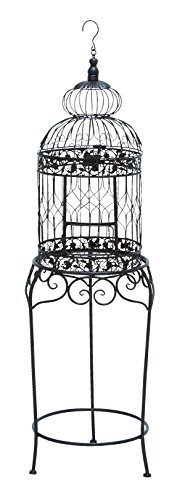Benzara Victorian Style Bird Cage with Wrought Iron by Benzara Woodland Imports -- DROPSHIP