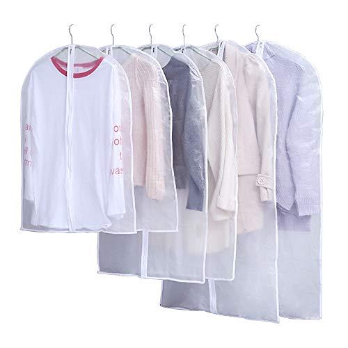 Urase Kledingzakken, 6 stuks, stofdicht, opbergtas, kledinghoes, kostuumhoes, beschermhoes, covers met ritssluiting, voor kleding jassen pakken bruidsjurken, kast