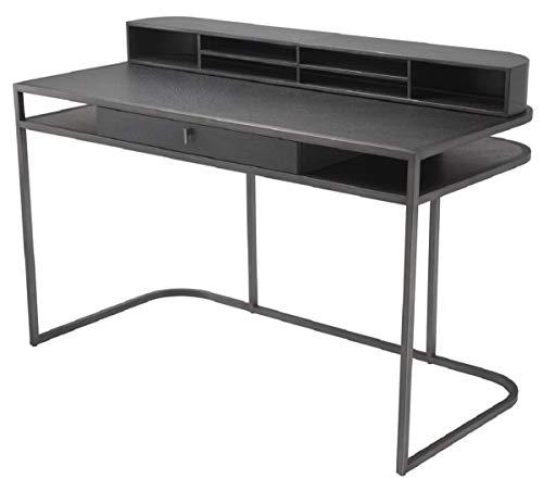 Casa Padrino Schreibtisch mit Schublade und abnehmbaren Regalaufsatz Dunkelgrau 130 x 60 x H. 75 cm - Büromöbel
