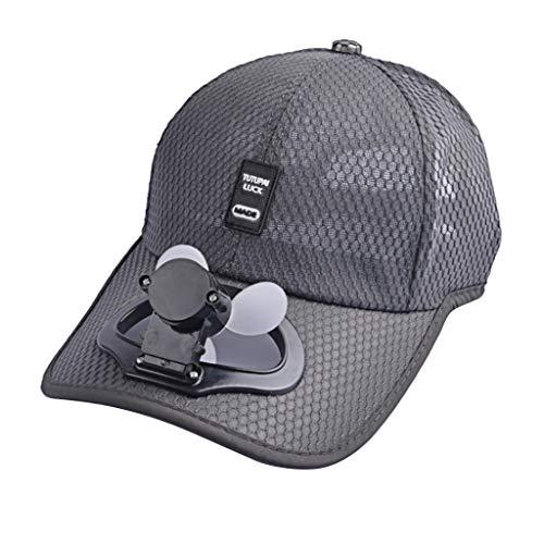 WT-DDJJK Berretto da Corsa, Berretto da Baseball per Ventilatore con Ricarica USB Unisex Cappello da Sole Estivo Traspirante per Adulti
