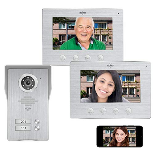 ELRO DV477IP2 WiFi IP Video Türsprechanlage-2-Familien-mit 2X 7-Zoll-Farbbildschirm-Color Night Vision-Live-Ansicht und Kommunikation via App, 2 Familien