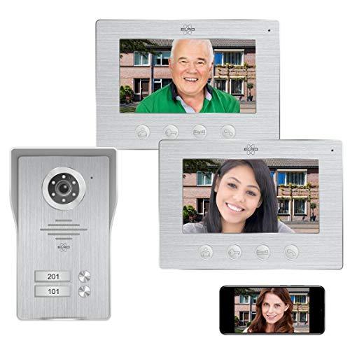 ELRO DV477IP2 Videoportero IP Wifi - 2 familias - con 2 pantallas a color de 7 pulgadas - Color Night Vision - vista en vivo y comunicación a través de la aplicación, aluminio cepillado