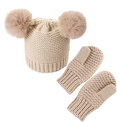 Fagu Niños Niñas Niños Guantes Bebé Invierno Cálido Crochet Gorro De Punto Gorro + Manoplas Set