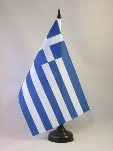 AZ FLAG Bandera de Mesa de Grecia 21x14cm - BANDERINA de DESPACHO Griega 14 x 21 cm