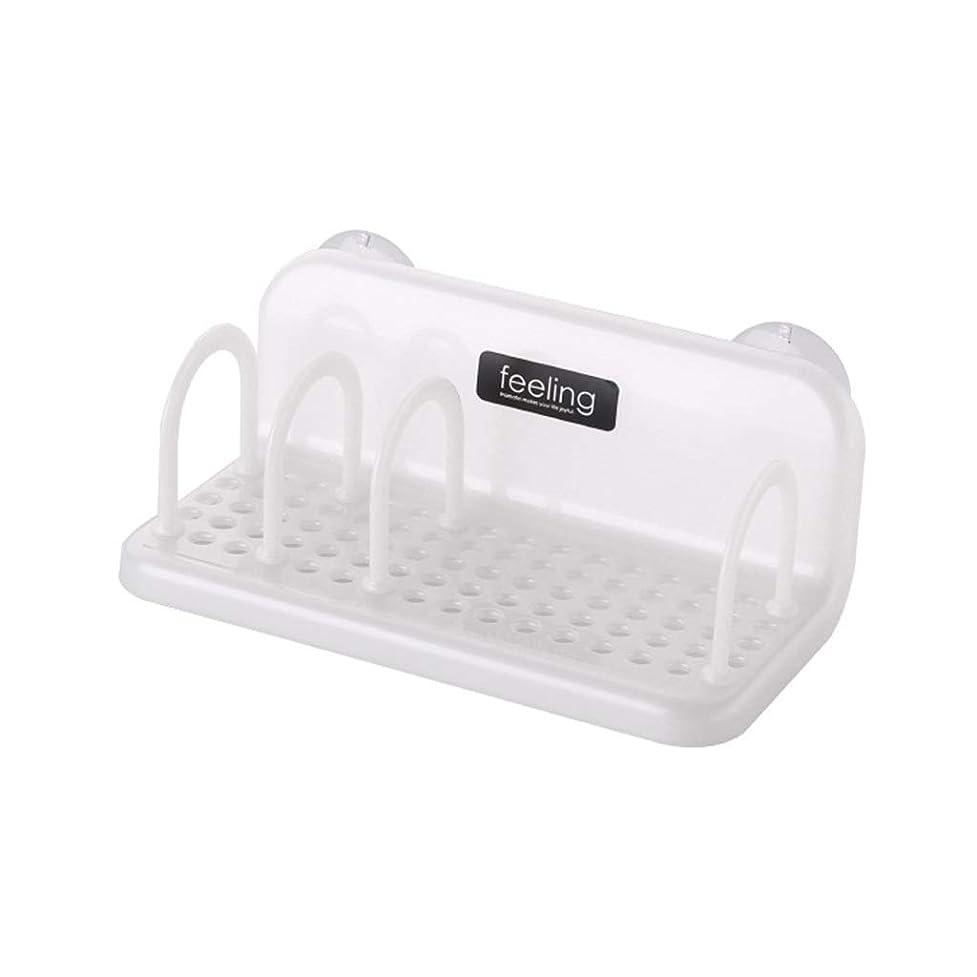 ひいきにする数学者プレートIUYWL プラスチック製バスルーム吸盤ドレンラック、キッチン収納ボックス、スポンジブラケット キッチンドレンラック (Color : White)