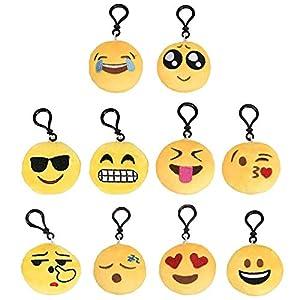 Mini Llavero Emoji Smiley Llavero Emoción Llavero Emoticonos Llaveros Mini Llavero de Felpa Emoji Llavero para Niños…