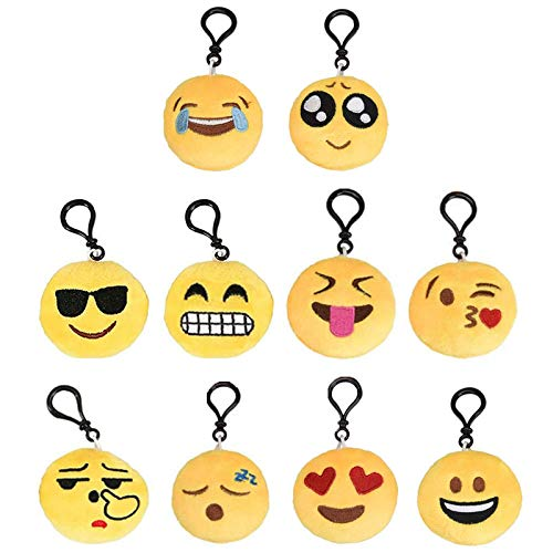 Mini Llavero Emoji Smiley Llavero Emoción Llavero Emoticonos Llaveros Mini Llavero de Felpa Emoji Llavero para Niños Adulto Mochila Colgante de Decoración para Coche Decoración para Fiesta 10 Piezas