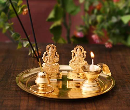 EFINITO Pooja Thali Set für Aarti Home – Metall Laxmi Ganesh Idol Showpiece -Bhai Dooj Duj traditionelle Diya Öl Puja Lampe – Agarbatti Räucherstäbchenhalter – Puja Artikel Spirituelle Diwali