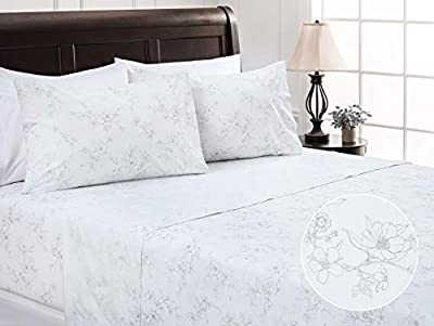 Chanasya Printed Queen Bed Sheet Set 4-Piece - Ultra Soft Hand Drawn Sketch Floral Pattern - 1 Flat 1 Fitted Sheet 2 Pillowcases - Wrinkle Stain Resistant Luxurious Microfiber Sheets - White - Queen
