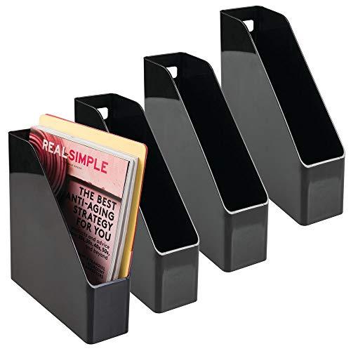 mDesign Plastic Ordnerset - 2 stuks papierorganizer voor kranten, tijdschriften, papieren en nog veel meer - tijdschriftenhouder van kunststof Pack de 4 Blanco Y Gris