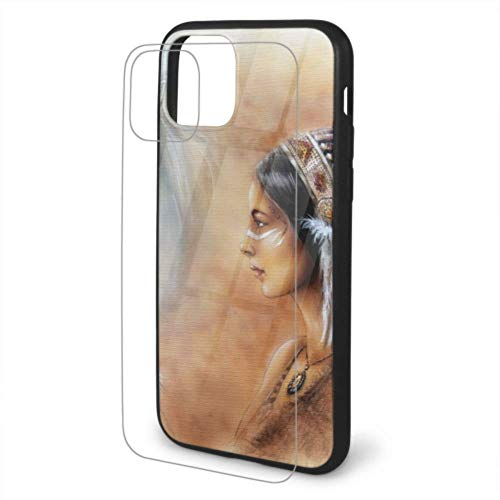 Rtosd Beautiful Airbrush Painting Young Native Indian 11 Phone Cover Screen Protector Tempered Glass Back&Soft Silicone TPU Cell Phone Cases for 11 for iPhone 11/pro/max
