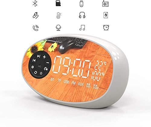 KYLL De Carga inalámbrica de Alarma del Reloj, Altavoz Bluetooth, 2-en-1 Moderno Reloj Despertador Digital con el Cargador inalámbrico y Thermomete (Color : White)