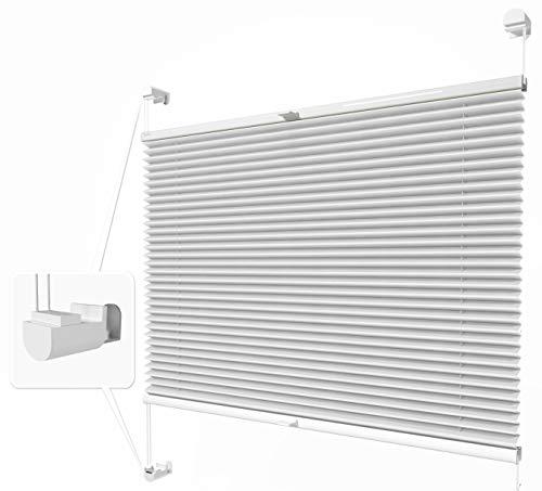 Home-Vision® Plissee Faltrollo ohne Bohren mit Klemmträger / -fix (Weiß, B55cm x H150cm) Thermoplissee Sonnenschutz Jalousie für Fenster & Tür
