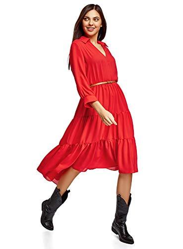 oodji Ultra Damen Midi-Kleid mit Gürtel, Rot, DE 36 / EU 38 / S