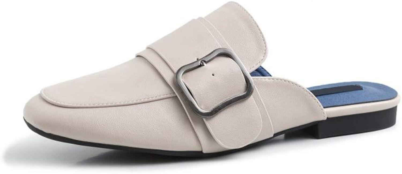 Brilliant sun Women's Classic Fashion Slip on Chain Decorated Loafers Low Heels Square Toe Mule
