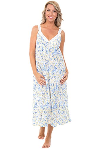 Alexander Del Rossa Womens 100% Cotton Lawn Nightgown, Sleeveless Deep V Gown, X-Large Blue and Yellow Flowers (A0589L12X)