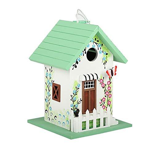 HWLL Comedero para pájaros Hermoso Comedero de Pájaros para Colgar Al Aire Libre para Decoración de Patio y Césped, Caja de Comida de Pájaro Verde Claro con Techo Inclinado (Color : Green)