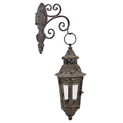 Chemin_de_Land Große Wandlaterne auf Kerze, für den Innen- und Außenbereich, Grau, 56 cm