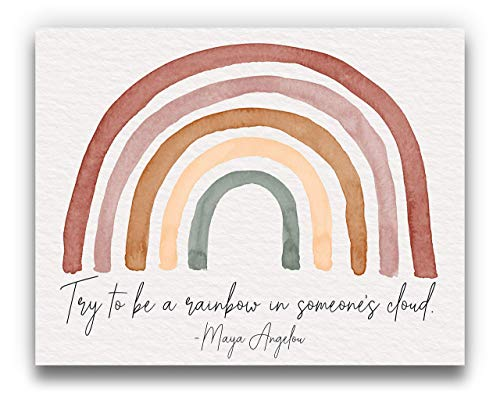 Maya Angelou Quote 'Be a Rainbow' Watercolor Wall Art | Terra Cotta Neutral 14x11 UNFRAMED Bohemian Print - Positive, Inspirational, Typography, Motivational Home Decor