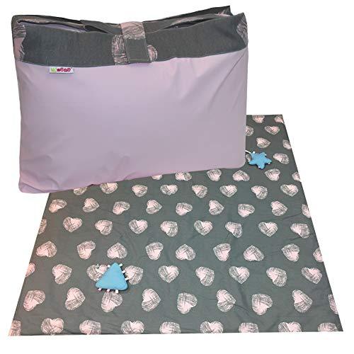 Minene UK Ltd Picknickdecke, gepolstert, Grau mit rosa Herzen