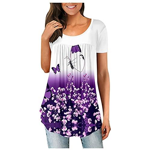 Tops de Verano para Mujer Tallas Grandes Blusas Florales impresión Casuales Camisas de Manga Corta con Cuello Redondo Camisates de Túnicas