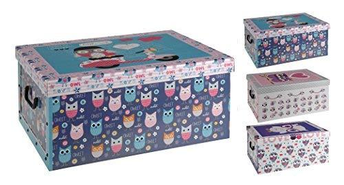 Spetebo 3er Set Aufbewahrungsbox in 3 Farben und Eulen Dekor mit jeweils 45 Liter Inhalt - Deko Box Eule