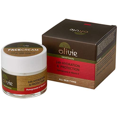 Olivie 24h Feuchtigkeitspflege und Sonnenschutz mit Biologischem Olivenöl, 60 ml, mit Melogran-Extrakt und Vitamin E, Dermatologisch getestet
