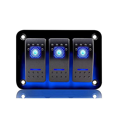 Panel de Interruptores Basculantes de 3 Pandillas Impermeable 5 Pin Panel de interruptor de palanca de LED con protección contra sobrecarga Universal para RV Car 12V / 24V