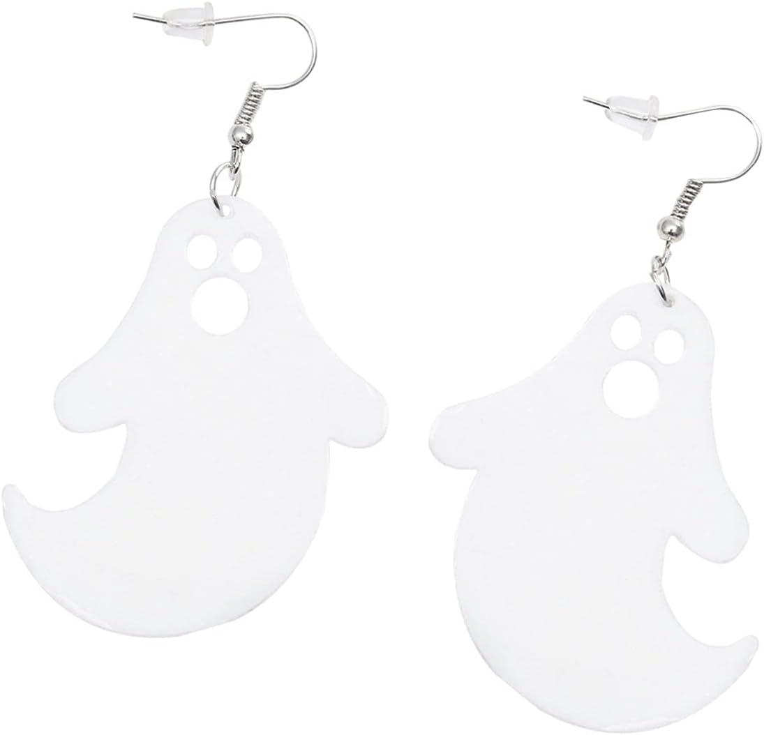 Generic 1 Pair Halloween Ghost Earrings Gothic Acrylic White Earrings Vintage Steampunk Punk Ear Dangler Drop Dangle Ear Jewelry for Women Ladies Girl