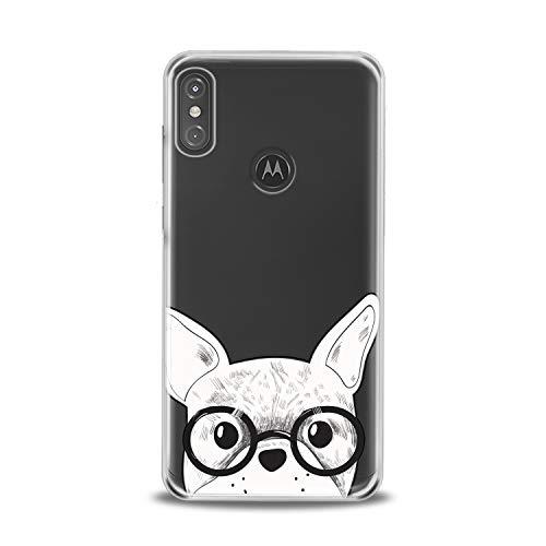 Lex Altern TPU Case Compatible with Motorola Moto G9 G8 G7 One Hyper Z4 P30 P40 Edge Smart Lightweight Bulldog Glasses Girl Art Cover Animal French Smooth Print Dog Design Clear Slim fit Soft White