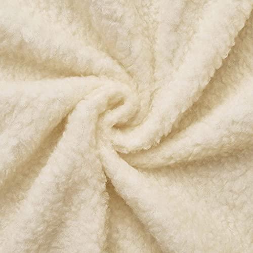(12,99€/m) Lammfell (ecru) dichtes, wärmendes Fellimitat - leicht elastisch, Innenfutter, Futterstoff - Meterware