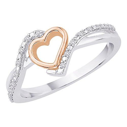 Anillo de corazón de diamantes en plata de ley de dos tonos (1/20quilates)