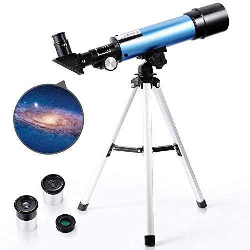 TZUTOGETHER Telescopio para niños Principiantes con trípode liviano, telescopio Refractor astronómico,Reflector de Ciencia educativa, con 2 oculares de Aumento y Lente de Aumento de 1.5X