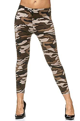 Ruiqui Damen Leggings mit Muster Leggins Sport sexy schwarz blickdicht fittness gym bunt sexy tarnmuster (Tarn beige)