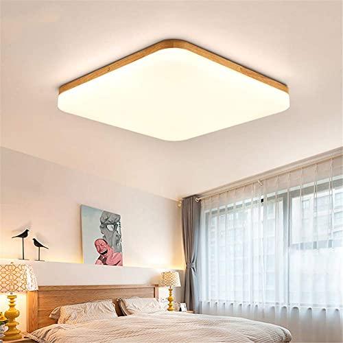 Lámparas de araña Lamparas De Dormitorio De Techo, Nordic Log LED Lights Square Bedroom Lámpara De Techo Simple Log Wind Lámparas De Estilo Japonés con Regulable,White Light,110v