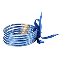Yuehao 多層シリコンブレスレット腕輪多層ファッションジュエリーアクセサリー女性用,青