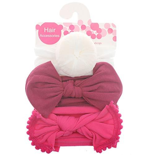 Siwetg Set van 3 stevige nylon hoofdbanden voor leuke kinderen meisjes haar meisjes turban haarband kinderen zachte katoen hoofdband