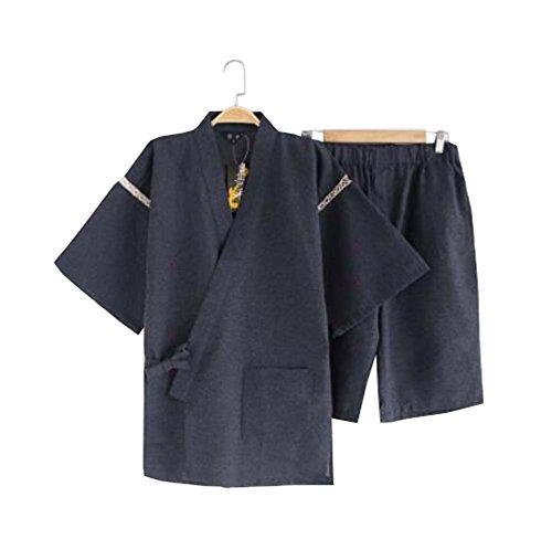 Black Temptation Kimono Jinbei camisa y pantalón japonés Loungewear/spa albornoz (corto) - G