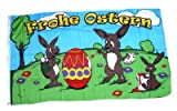 Fahne/Flagge Frohe Ostern Hasen Ei 90 x 150 cm