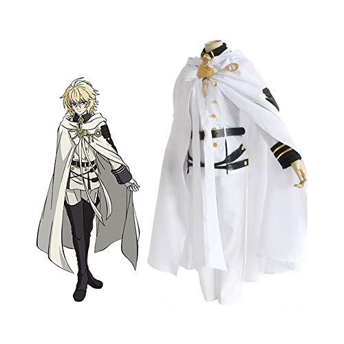 CGBF -Seraph of The End Mikaela Hyakuya Cosplay Disfraz de vampiros Uniforme Traje de Halloween Anime Game Party Costume, Blanco, S