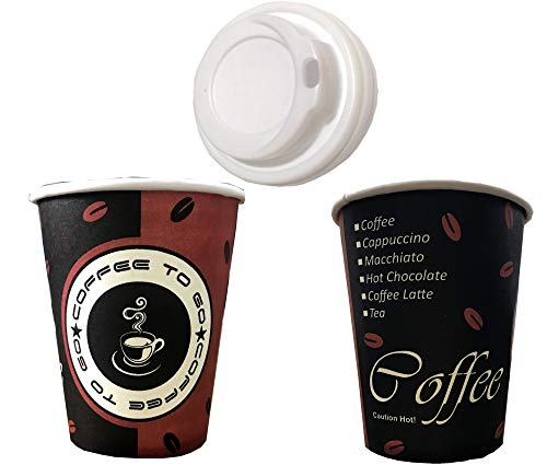 TRENDSKY 1000 Stück Kaffeebecher Coffee to go mit Deckel, Pappe beschichtet 200 ml, Becher für Kaffee/Tee, 200ml Hartpapier Einweg Pappbecher Coffeebecher 0,2l