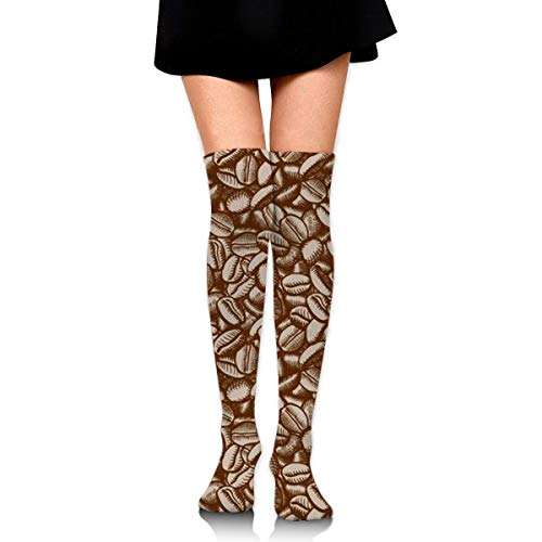 RGFDF Kaffeebohnenmuster Frauen über dem Knie Oberschenkel Socken Mädchen High Boot Strümpfe Beinwärmer