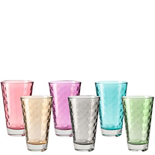 Leonardo Optic Set de 6 Grands Verres Couleurs Assorties 047283, Verre, Multicolore, 8 x 8 x 13 cm 6 unités