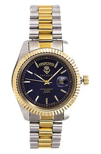 C CAVADINI Leonardo Herren-Armbanduhr Analog Quarz mit Edelstahlarmband CV-331JDD (blau/Bicolor)