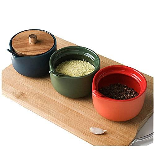 Kruiden opslag keuken met lepel kruiden jar vochtbestendig huishoudelijke houten lade keramische multi-color kruidenpot…