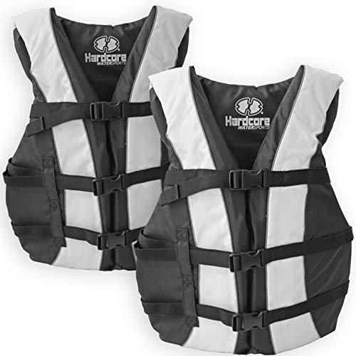 2 Pack Hardcore Adult Life Jacket PFD Type III Coast Guard Ski Vest White