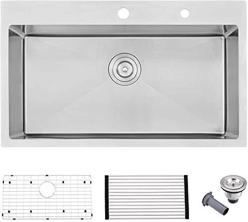 33 Stainless Drop In Kitchen Sink-Bokaiya Kitchen Sink 33x22 Stainless Steel Sink Top Mount Kitchen Sink 16 Gauge 10 Inch Single Bowl Stainless Steel Kitchen Sink