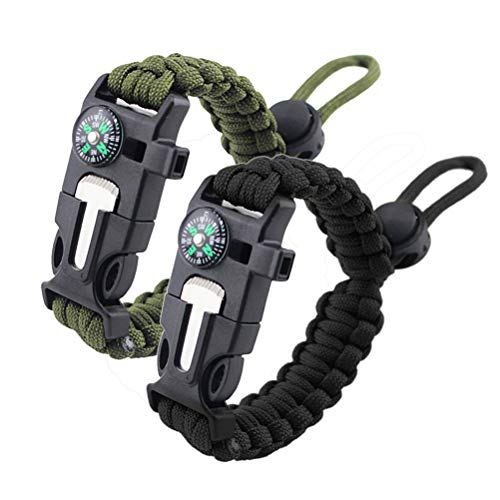ZHIYE 2 Pack Survival Paracord Bracelet Flint Fire Starter Scraper Compass Wilderness Survival Whistle Adjustable Wristband Black&ArmyGreen