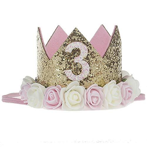 Ouinne 3 Anno Fascia Tiara, Fascia Bambina dei Capelli Corona Principessa dei Capelli